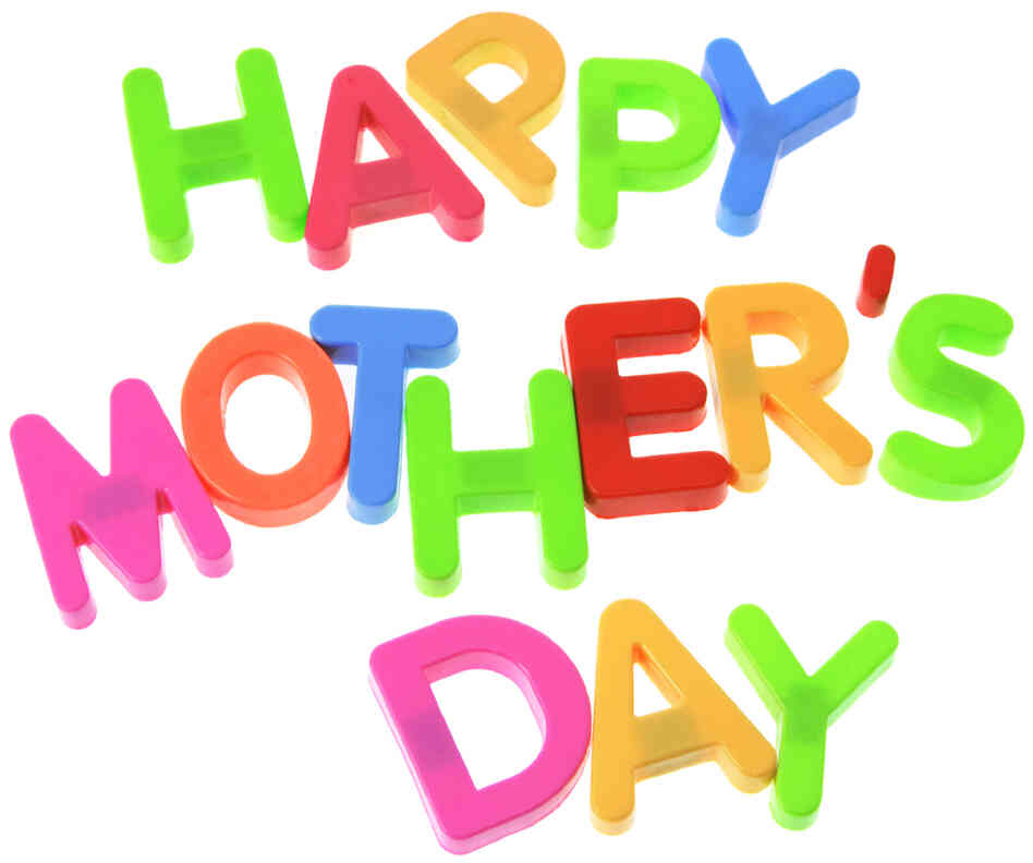 """Happy Mother's Day"" in bright, colored letters on a white background."