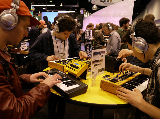 Attendees at the 2012 show of the National Association of Music Merchants. MIDI was first demonstrated at the NAMM show in 1983; today, it's built into most of the gear at the show.