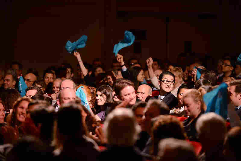 Fans of the National Symphony Orchestra-- many of whom journeyed to New York from the Washington, DC area to hear the group — waved turquoise kerchiefs to express their pride.