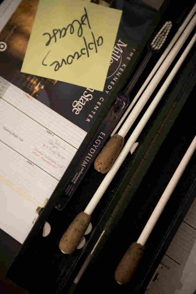 Conductor Christoph Eschenbach's baton case for the evening.
