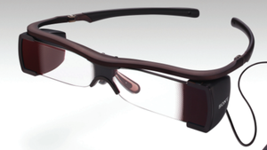 Sony's Entertainment Access Glasses, seen here in a prototype image, display captions for deaf and hard-of-hearing moviegoers.