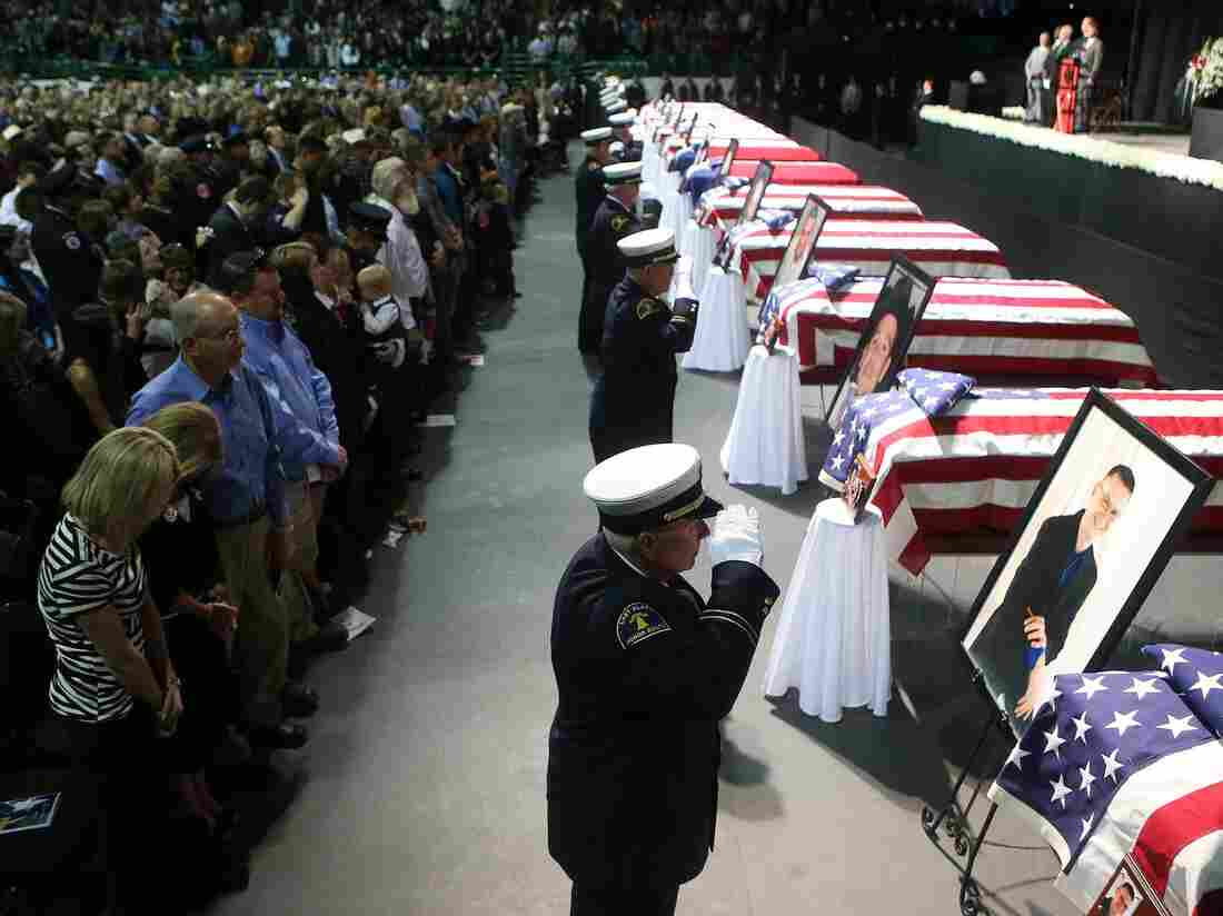 April 25, in Waco: Friends, family members and fellow firefighters held a memorial for the first responders killed by the April 17 explosion at a fertilizer plant in West, Texas.