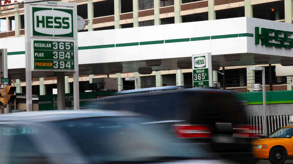 Gas prices are displayed on a board at a Hess station in Hoboken