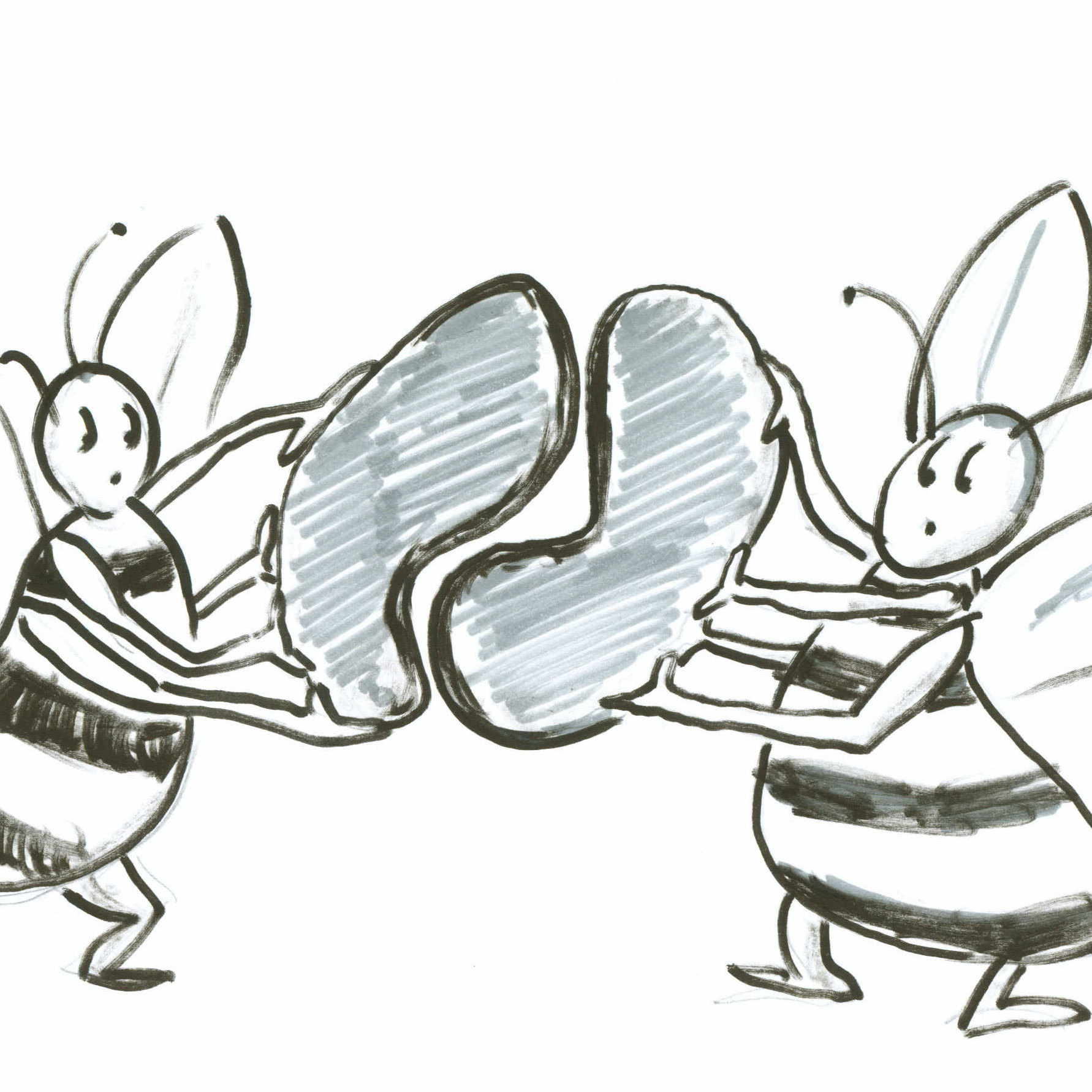 Two bees with random shapes