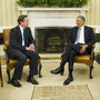 President Obama and British Prime Minister David  Cameron in the Oval Office of the White House on Monday.
