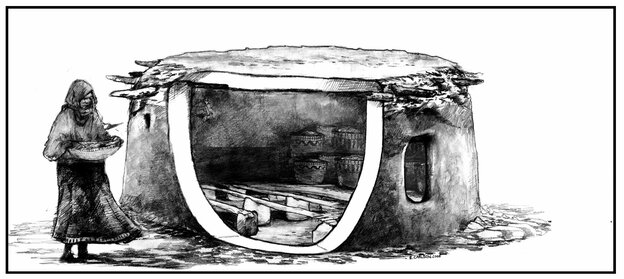 """Prehistoric """"pantries"""": This illustration is based on archaeological findings in Jordan of structures built to store extra grain some 11,000-12,000 years ago."""