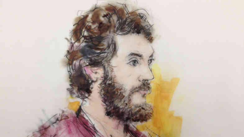 An artist's sketch of Colorado theater shooting suspect James Holmes, from an April court appearance.