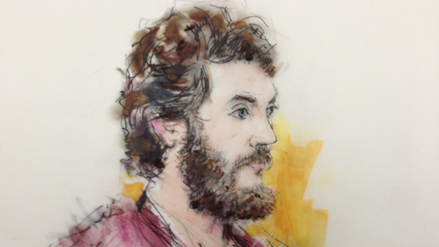 An artist's sketch of Colorado theater shooting suspect James Holmes, from an April court appearance. (Bill Robles/Reuters /Landov)