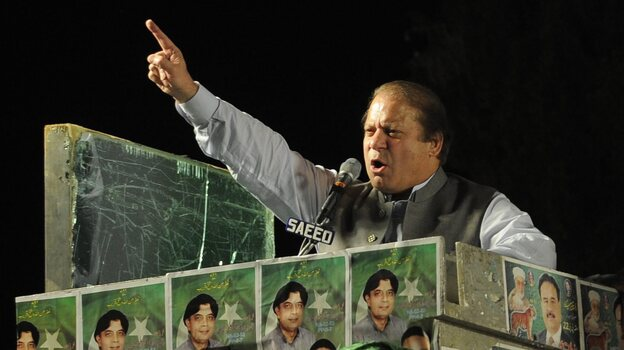 Nawaz Sharif, who will lead Pakistan's next government, at a campaign rally last week. (EPA /LANDOV)
