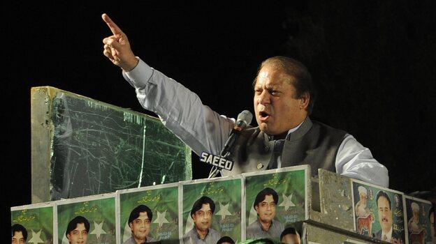 Nawaz Sharif, who will lead Pakistan's next government, at a campaign rally last week. (EPA /LANDOV)