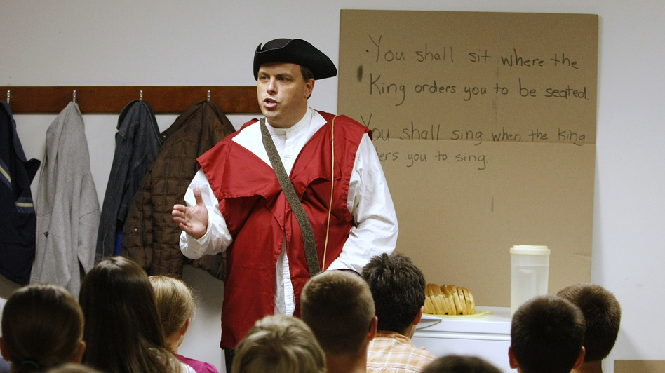 Eric Wilson, head of the Kentucky 9/12 Project, portrays a representative of the tyrannical kingdom as he talks to children on the first night of Vacation Liberty School at a church in Georgetown, Ky., in 2010. (AP)