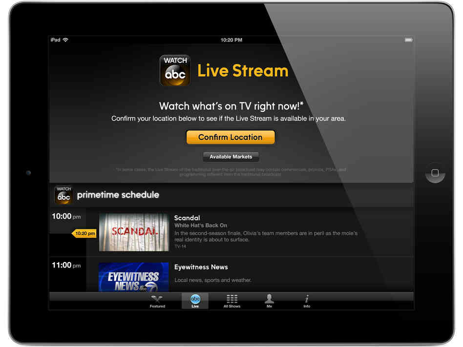 A new iPad app lets viewers watch live ABC programming starting Tuesday in New York and Philadelphia.