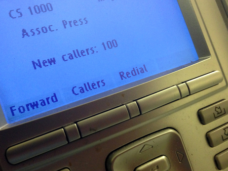 The screen on the phone console at the reception desk at The Associated Press Washington bureau.