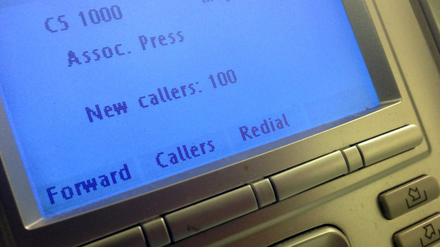 The screen on the phone console at the reception desk at The Associated Press Washington bureau. (AP)