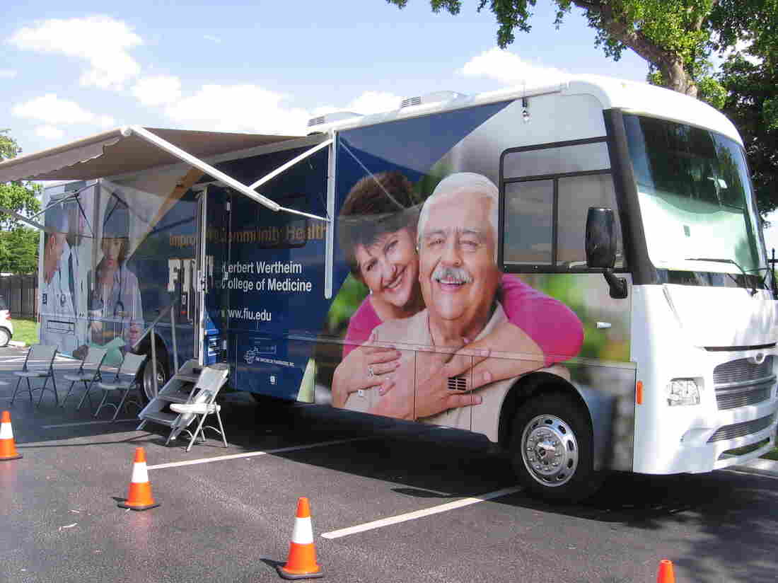 With community-based health care a central part of its curriculum, Florida International University's medical school turned an RV into a mobile health clinic so that students could treat families in neighborhoods where medical care is scare.