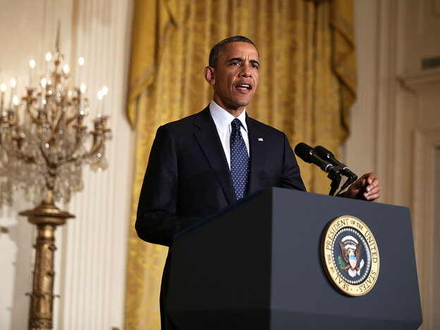 President Obama makes a statement Wednesday about acting IRS Commissioner Steve Miller's resignation.