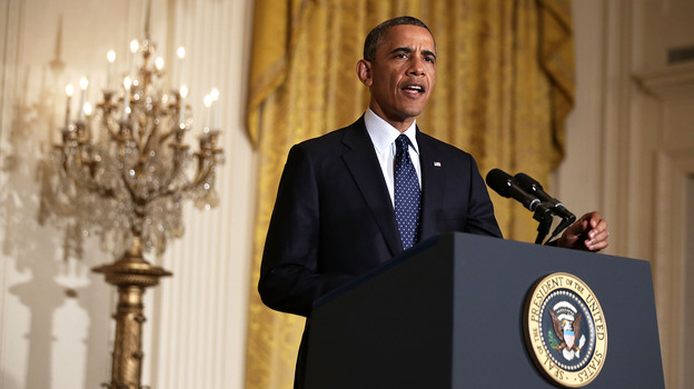 President Obama makes a statement Wednesday about acting IRS Commissioner Steve Miller's resignation. (Getty Images)