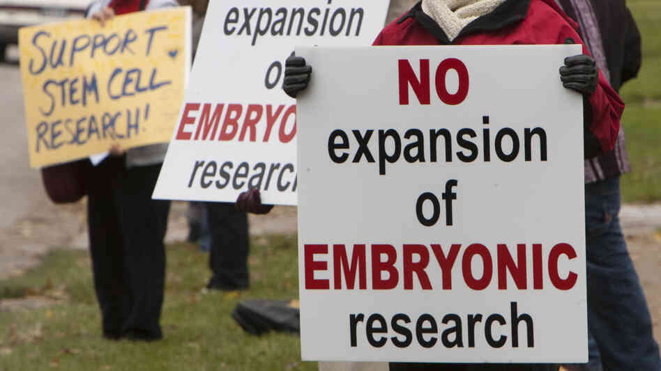 After President Obama overturned Bush-era policy restricting federal funding of embryonic stem cell research in 2009, Nebraska Right to Life led a protest of the research outside the University of Nebraska regents' meeting.