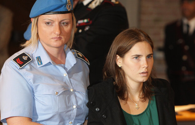 Amanda Knox enters an Italian court on Oct. 3, 2011, just before being acquitted of murdering her British roommate, Meredith Kercher.