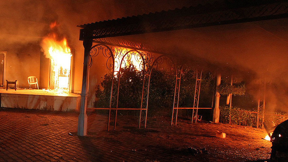 Sept. 11: The U.S. consulate in Benghazi, Libya, was aflame after coming under attack. (AFP/Getty Images)