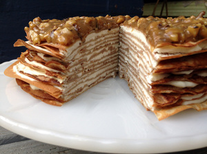 Whole Banana Crepe Cake With Yogurt And Walnut Butterscotch