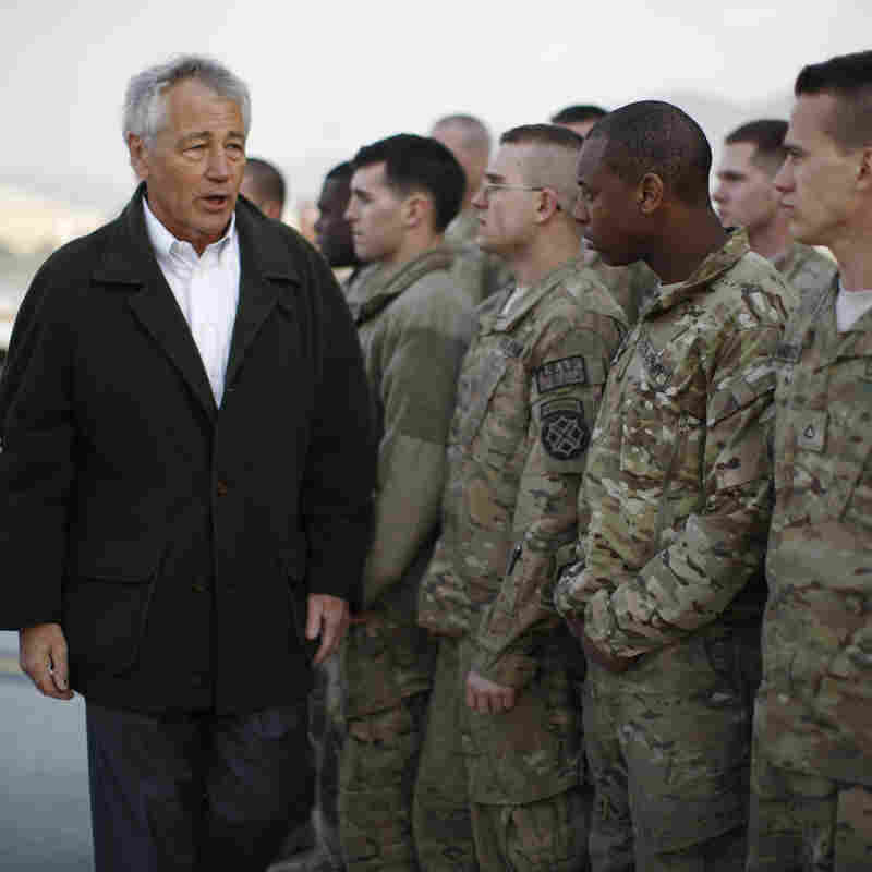 Secretary of Defense Chuck Hagel with U.S. troops in Kabul, Afghanistan, on March 11.