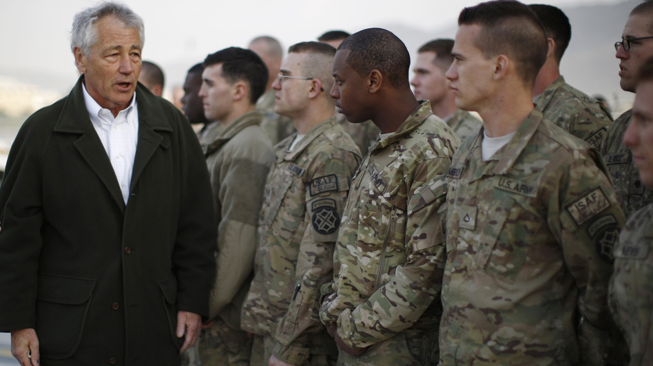 Secretary of Defense Chuck Hagel with U.S. troops in Kabul, Afghanistan, on March 11. (Getty Images)