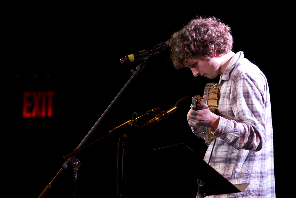 "The wonderful indie folk singer Sam Amidon was something of a surprise guest on the program. His three song set included what he called ""a murder ballad,"" which was punctuated by a long and terrific scream."