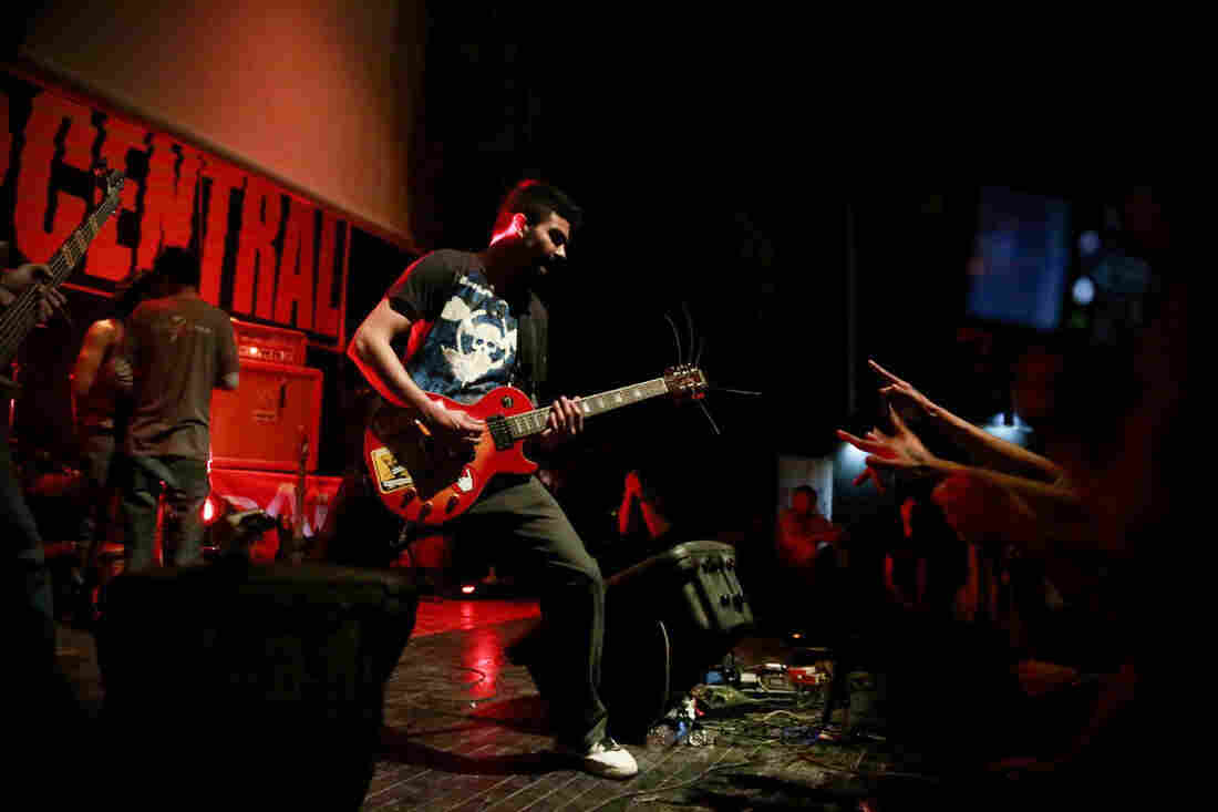 """Solomon """"Sully"""" Omar performs with the Afghan metal band District Unknown at the third annual Sound Central Festival in Kabul earlier this month."""