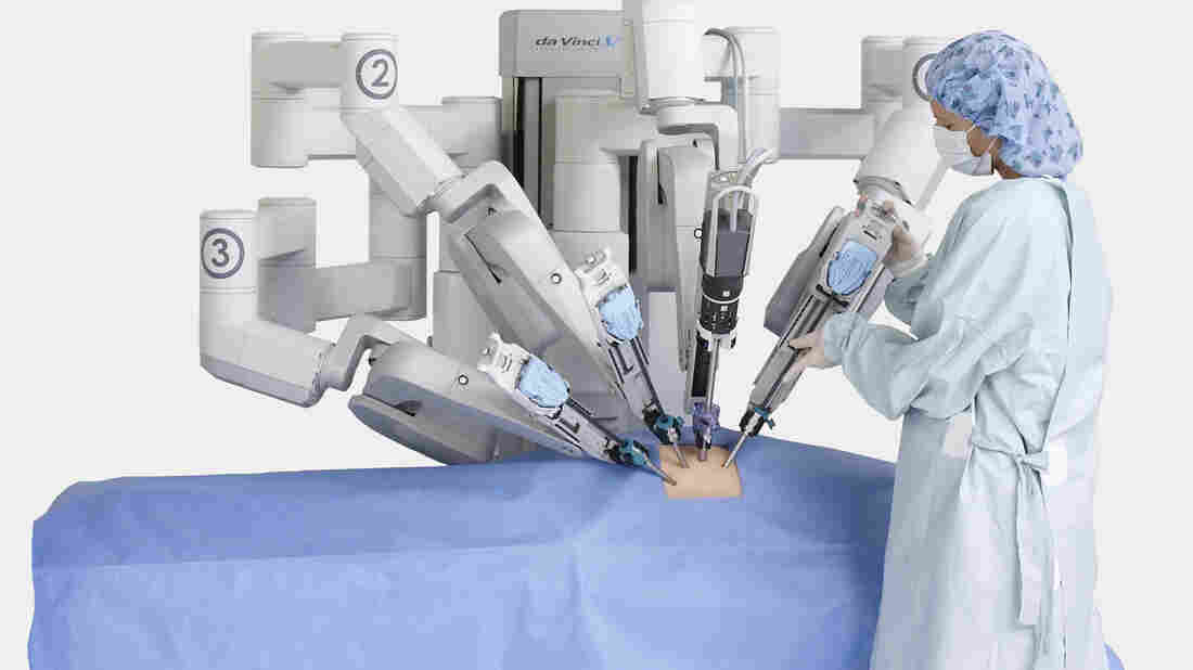 Many arms, one robot: the business end of the da Vinci system is seen in this media handout image from the manufacturer.
