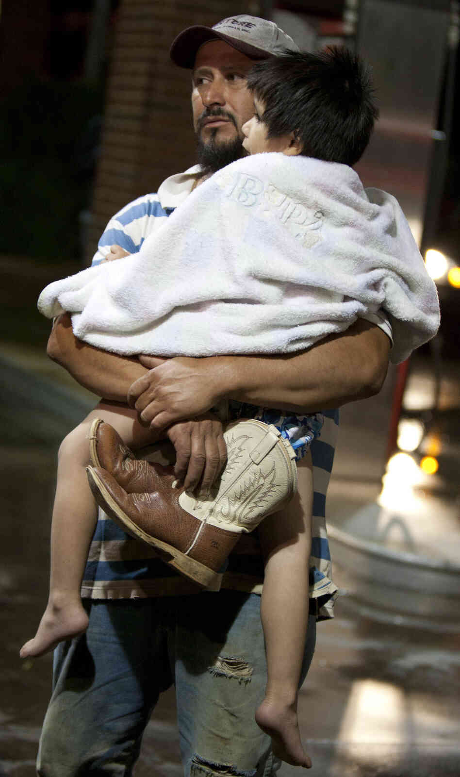 Jose and Antonio Angudo were among those evacuated from Granbury, Texas, late Wednesday after a tornado devastated th