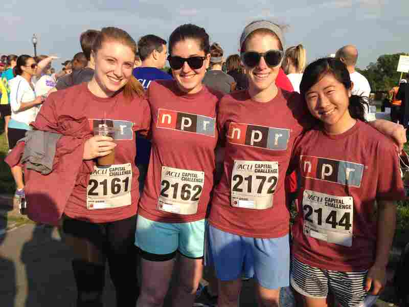 Teaming up before the three-mile run were (l-r) Theo Balcomb, Digital News Production Assistant Rose Friedman, and All Things Considered Senior Editor Alison MacAdam and Production Assistant Jinae West.