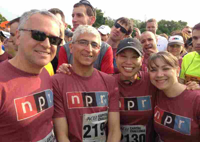 It was a tight squeeze in the starting area, but making the frame are runners from NPR's Washington Desk (l-r): Correspondent David Welna, Editor Shirish Date, Reporter Ailsa Chang and Correspondent Tamara Keith.