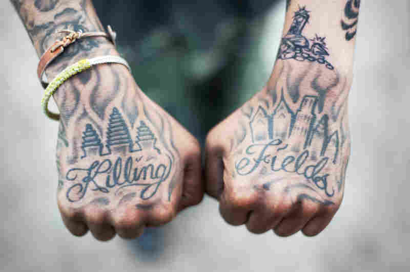 Shorty, 28, shows his killing-fields tattoo in Philadelphia.