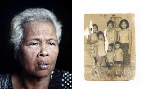 Pin's grandmother Duong Meas in Stockton, Calif., in August 2010; and a family portrait circa 1973, one of only two items Pin's family saved from before the revolution.