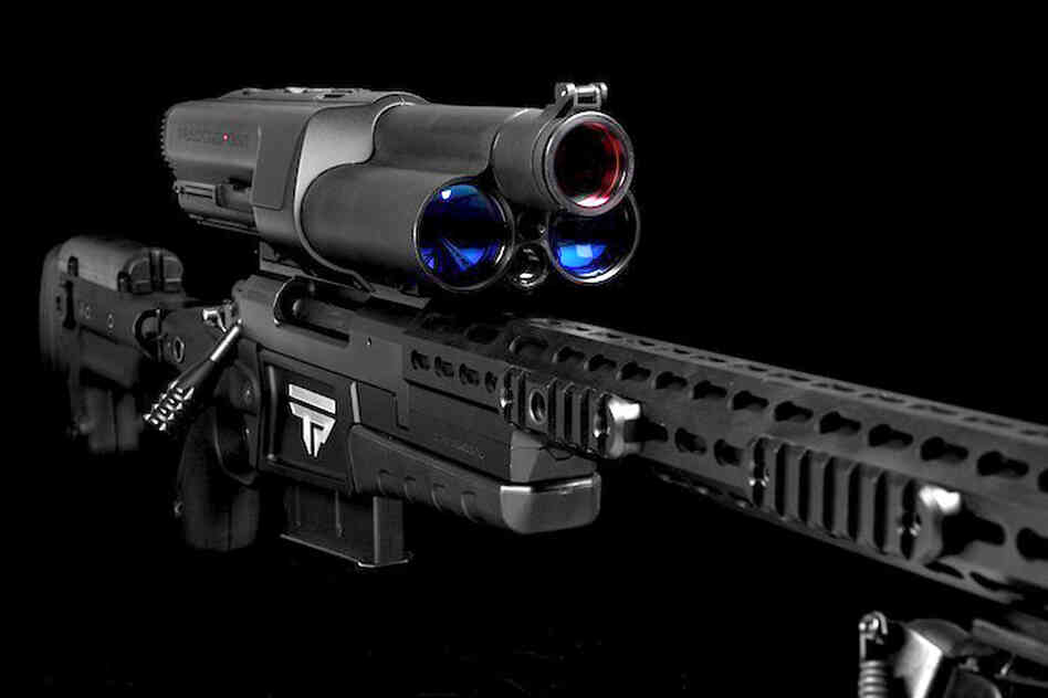 A TrackingPoint rifle features a high-tech scope that includes a laser rangefinder and a Wi-Fi server.