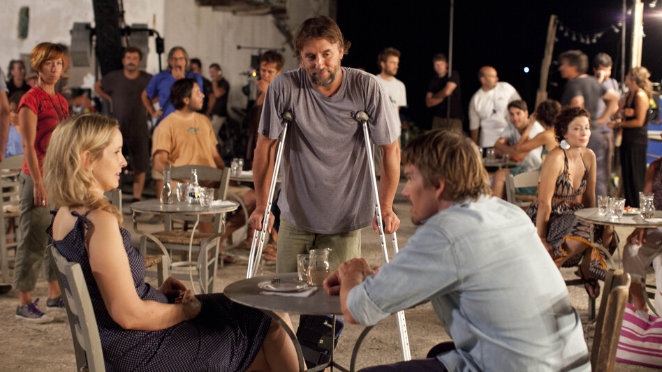 Richard Linklater (center) directs Julie Delpy and Ethan Hawke on the set of Before Midnight. (Courtesy Sony Pictures Classics)