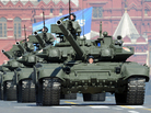 A column of Russia's T-90 tanks rumbles over the cobblestones in Moscow's Red Square on May 9 during the country's Victory Day parade celebrating the anniversary of its costly victory over Nazi Germany in World War II.