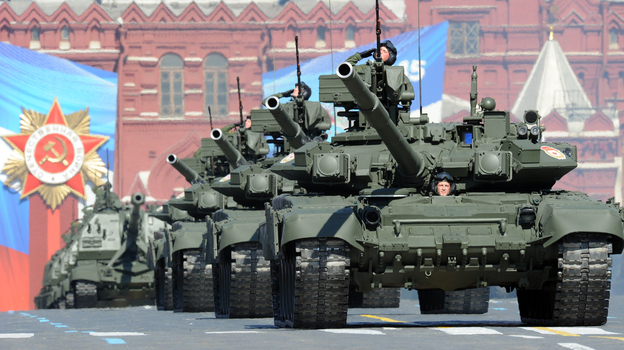A column of Russia's T-90 tanks rumbles over the cobblestones in Moscow's Red Square on May 9 during the country's Victory Day parade celebrating the anniversary of its costly victory over Nazi Germany in World War II. (AFP/Getty Images)