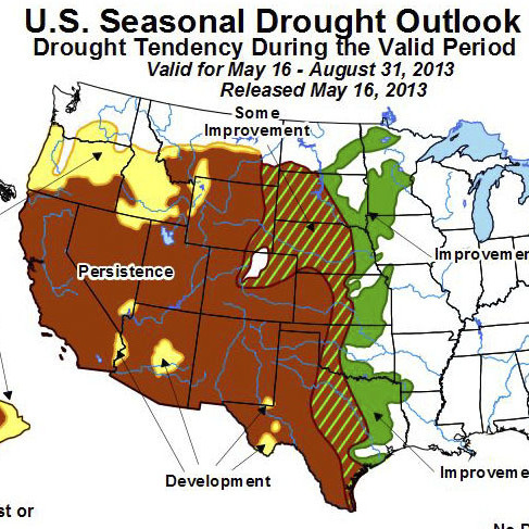 Forecasters are predicting better rainfall for the East and Midwest, but in parts of the West, drought conditions are expected to persist.