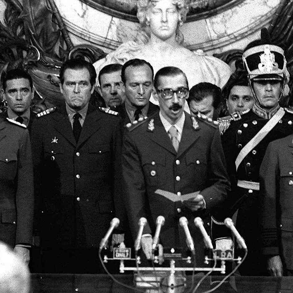Gen. Jorge Rafael Videla (center) is sworn in as president in