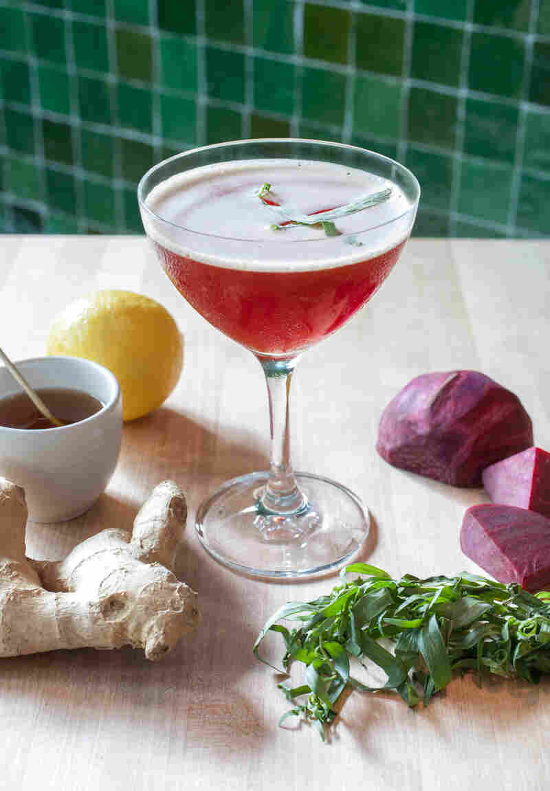 """The """"Beet Me in St. Louis"""" cocktail uses two infusions: €"""" beet-infused gin and tarragon-infused honey."""