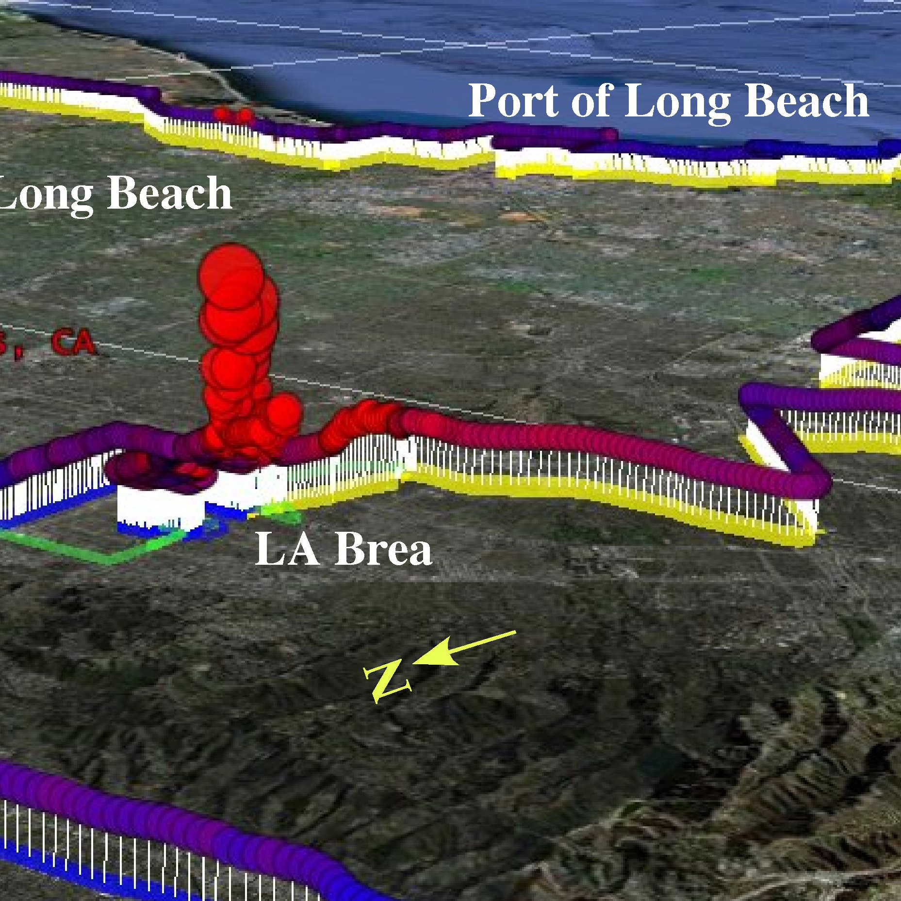 "This map shows methane measurements Ira Leifer took as he drove in his RV around the Los Angeles basin. Notice the pronounced spike in levels of methane around the La Brea Tar Pits in the center of the image. Geological faults here allow ""natural"" methane to escape. The redder the color, the more methane was detected."
