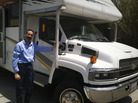Ira Leifer, next to an RV he has outfitted with methane sensors and other equipment to sniff the air.