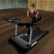A player avatar runs on a treadmill in the virtual world of Second Life. Researchers used the online game to see if it could help people maintain weight loss habits in the real world.