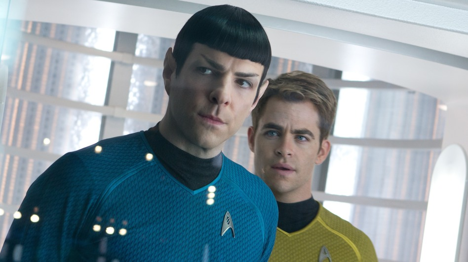 Zachary Quinto as Spock, with Chris Pine as Kirk, in Star Trek: Into Darkness. (Courtesy Paramount Pictures)