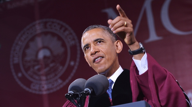 President Obama delivers the commencement address during a ceremony at Morehouse College on Sunday in Atlanta, Georgia. (AFP/Getty Images)