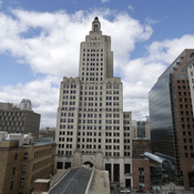 "The iconic Industrial Trust Tower, knows as ""The Superman building,"" stands in downtown Providence, R.I. The Art Deco-style skyscraper, the tallest in the state, lost its last tenant when the bank's lease expired in April."