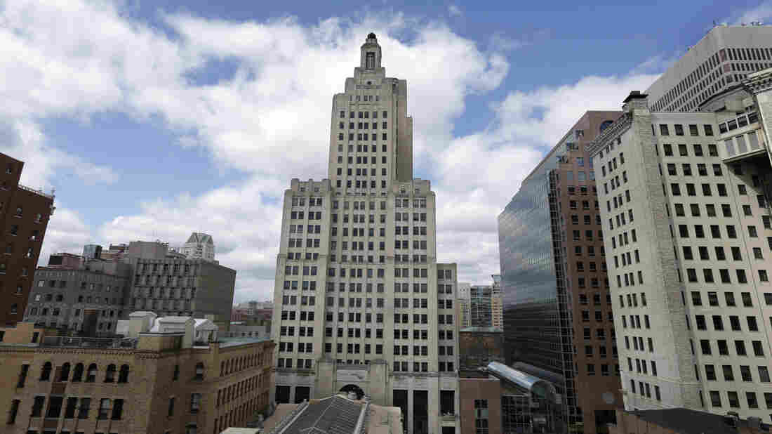 """The iconic Industrial Trust Tower, knows as """"The Superman building,"""" stands in downtown Providence, R.I. The Art Deco-style skyscraper, the tallest in the state, lost its last tenant when the bank's lease expired in April."""