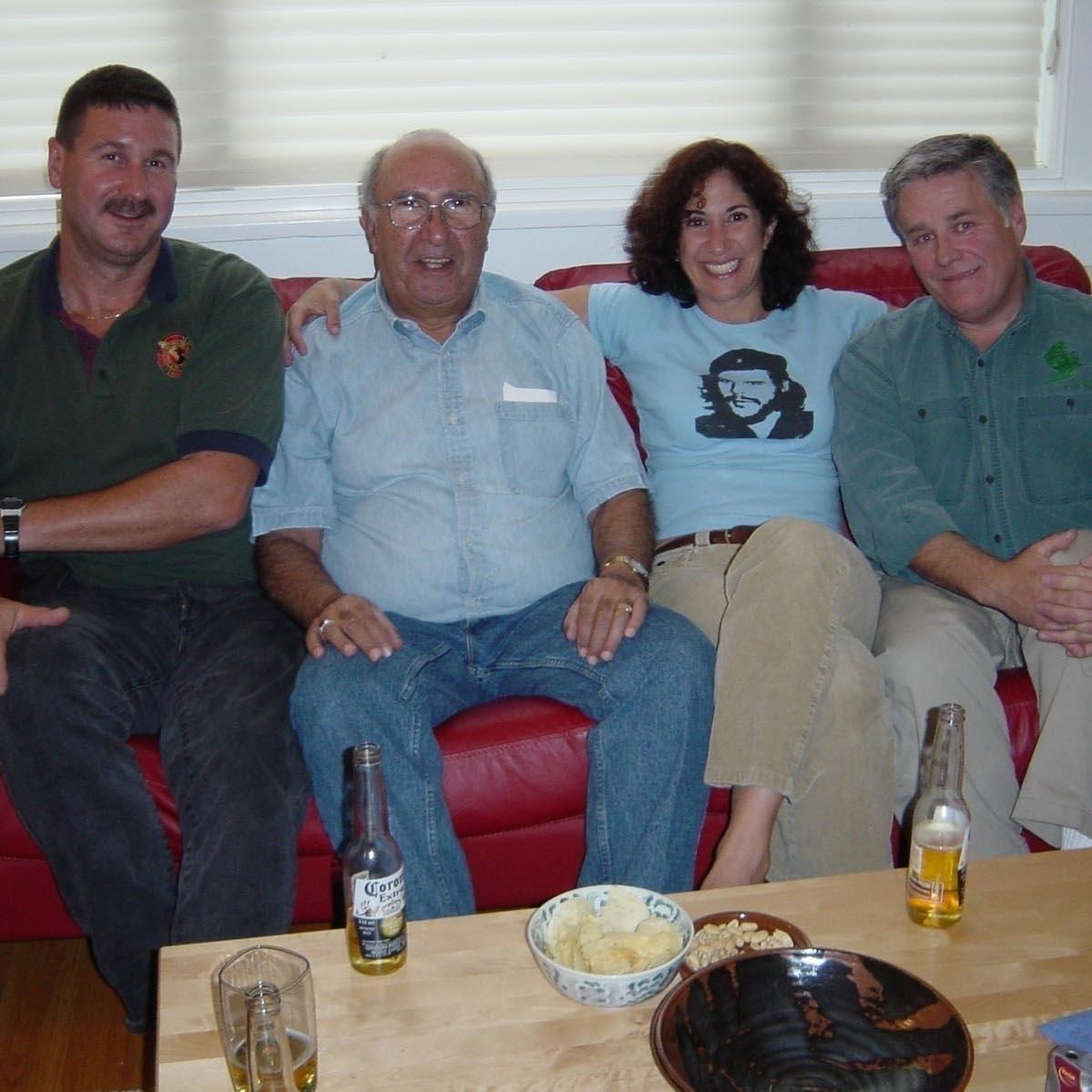Author Carol Shaben marks the crash's 20-year anniversary with three of its survivors (from left): Erik Vogel, Larry Shaben and Scott Deschamps.
